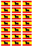 Spain Bull Flag Stickers - 21 per sheet